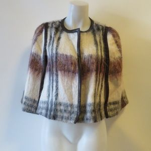 PRADA IVORY/BROWN/MAROON PLAID CROP JACKET 8*